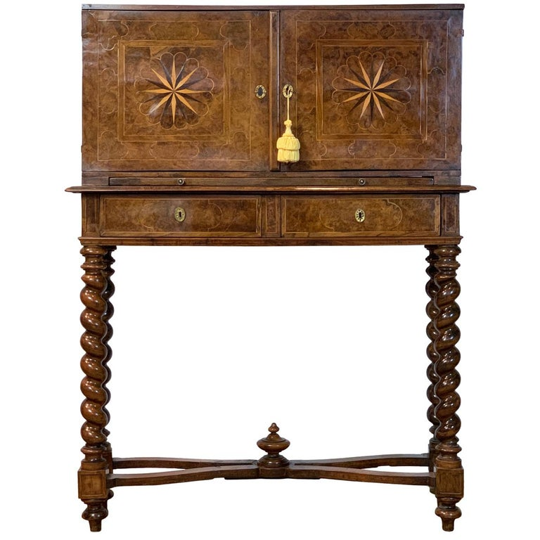 Early 18th Century Burl Walnut Cabinet on Stand For Sale