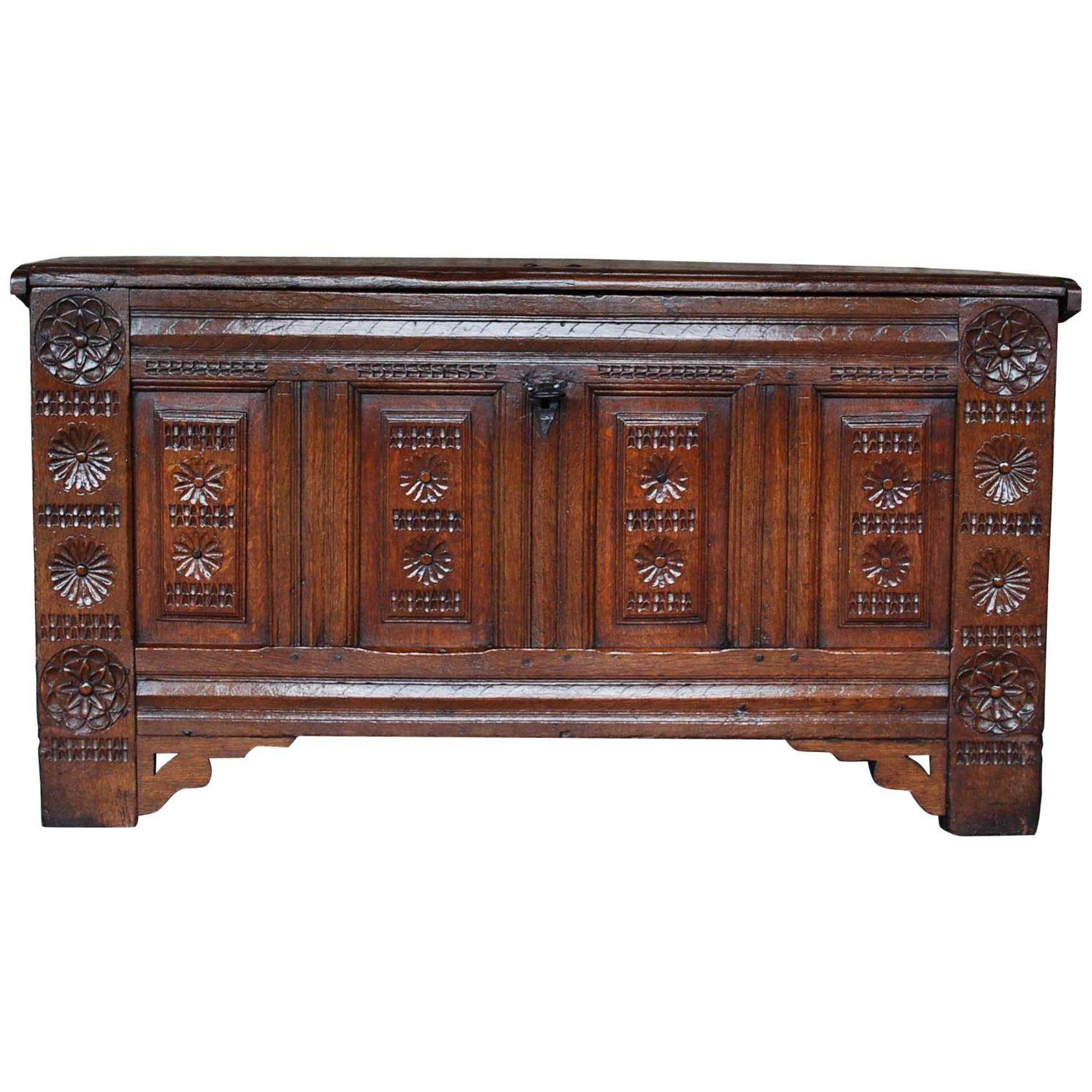 Early 18th Century Carved Oak Dutch Maids Chest