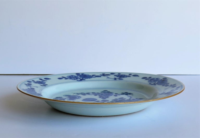 Early 18th Century Chinese Porcelain Blue and White Plate or Dish, Qing Ca 1730 For Sale 7