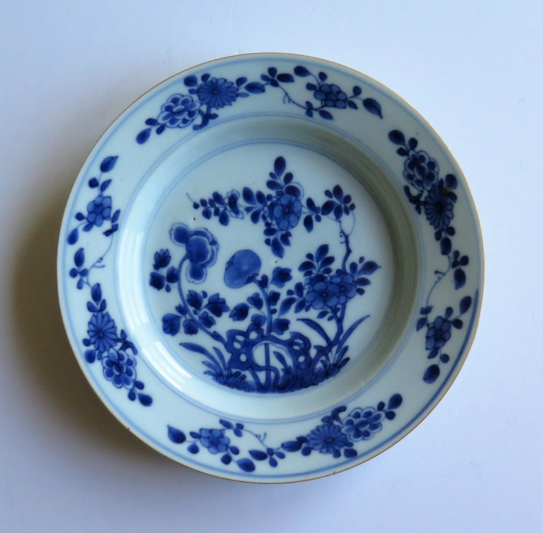 Hand-Painted Early 18th Century Chinese Porcelain Blue and White Plate or Dish, Qing Ca 1730 For Sale