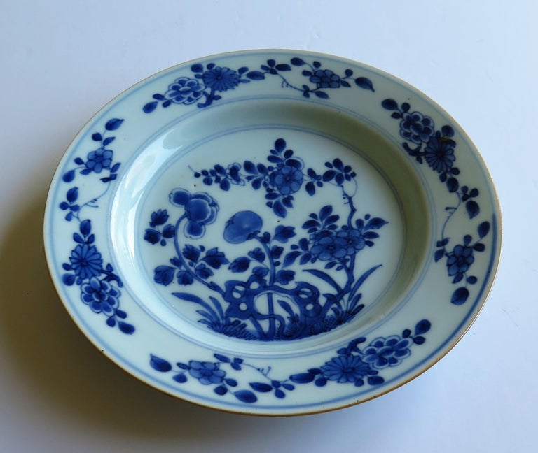 Early 18th Century Chinese Porcelain Blue and White Plate or Dish, Qing Ca 1730 For Sale 4