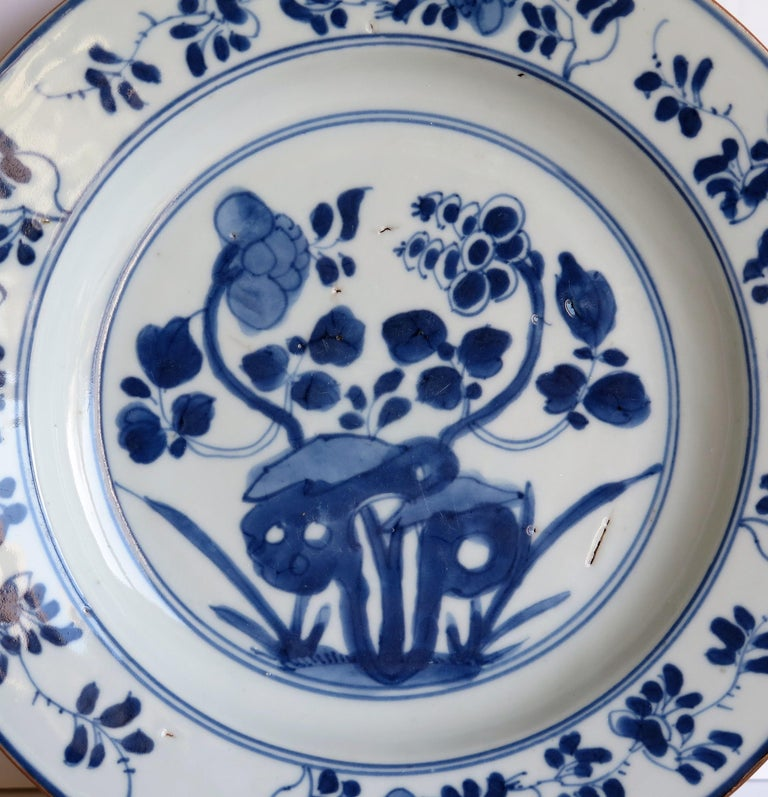 Early 18th Century Chinese Porcelain Plate Blue and White, Qing, circa 1730 For Sale 7