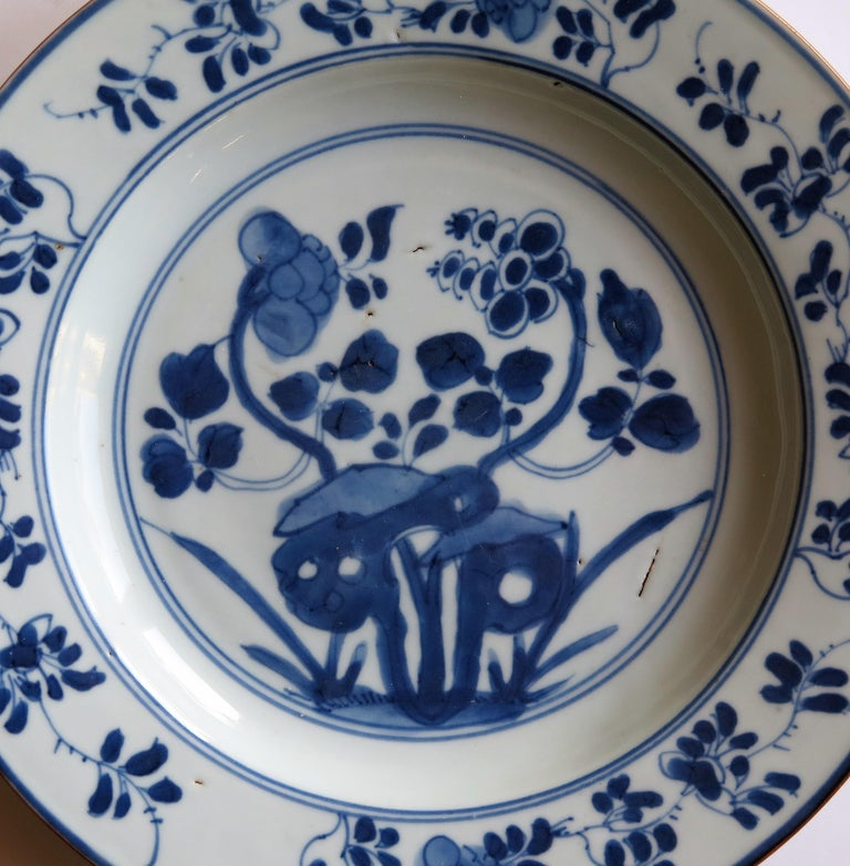Early 18th Century Chinese Porcelain Plate Blue and White, Qing, circa 1730 For Sale 8