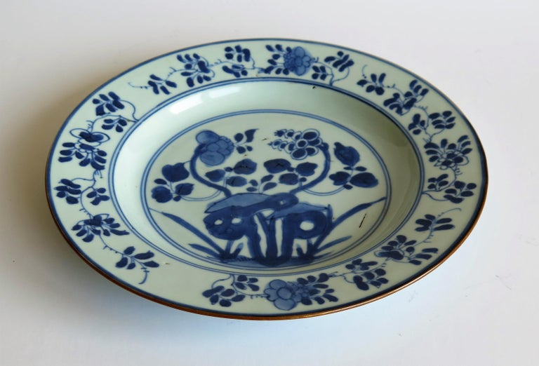 Early 18th Century Chinese Porcelain Plate Blue and White, Qing, circa 1730 For Sale 3
