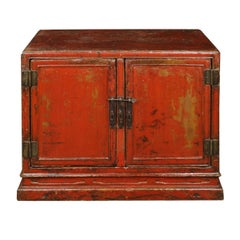 Early 18th Century Chinese Red Lacquer Cabinet