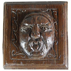 Early 18th Century Continental Face Relief Carving