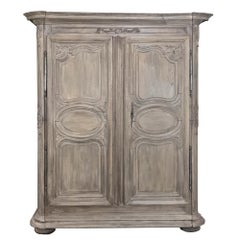 Early 18th Century Country Stripped French Armoire