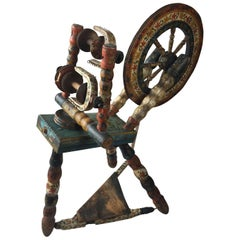 Early 18th Century Dutch Hand Painted Spinning Wheel