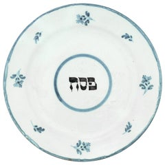 Early 18th Century Dutch Tin-Glazed Earthenware Passover Plate