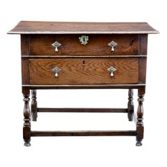Early 18th Century English 2 Drawer Oak Side Table