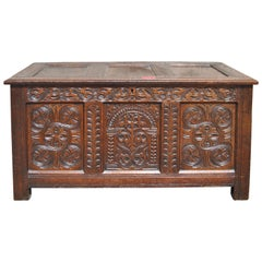 Early 18th Century English Carved Oak Blanket Chest / Coffer