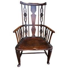 Early 18th Century English Comb-Back Windsor Armchair, Ash, Elm, Walnut