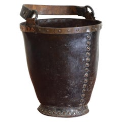 Early 18th Century English Leather Fire Bucket with Original Handle