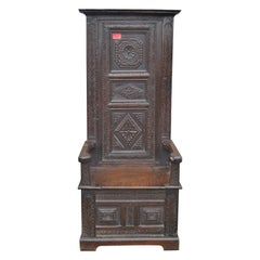 Early 18th Century English Oak Tall Back Chair / Settle