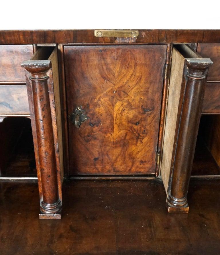 Early 18th Century English Walnut Veneered Stepped Interior Georgian Bureau Desk For Sale 9