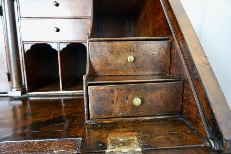Early 18th Century English Walnut Veneered Stepped Interior Georgian Bureau Desk For Sale 10