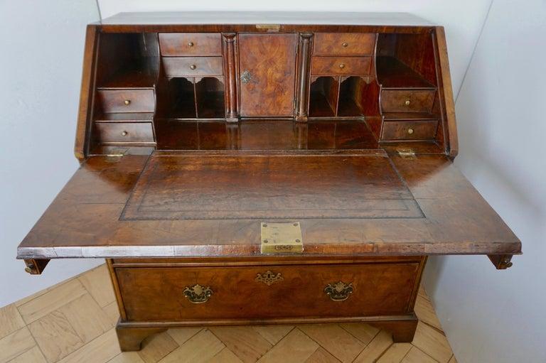 George I Early 18th Century English Walnut Veneered Stepped Interior Georgian Bureau Desk For Sale