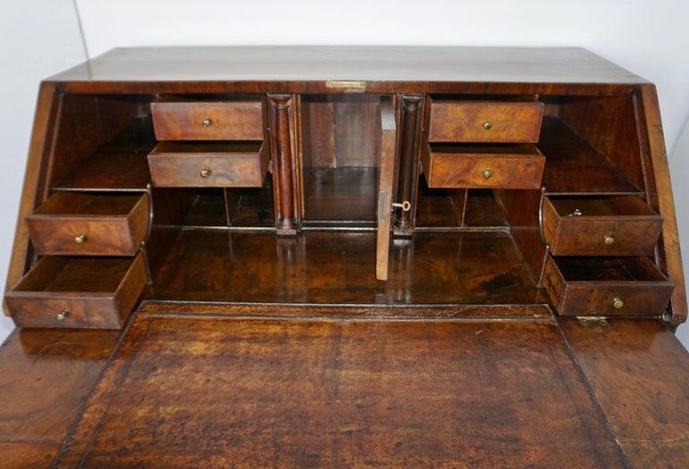 Hand-Crafted Early 18th Century English Walnut Veneered Stepped Interior Georgian Bureau Desk For Sale