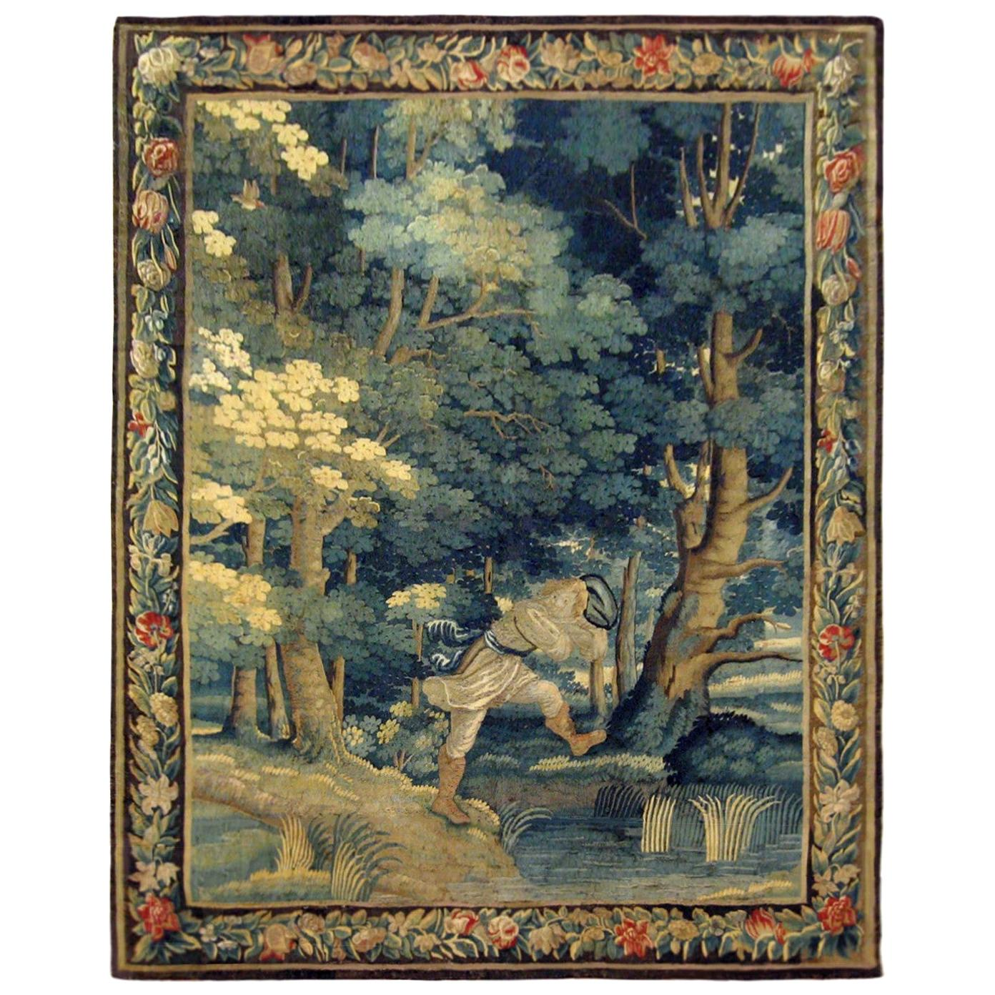 Early 18th Century Flemish Verdure Rustic Tapestry