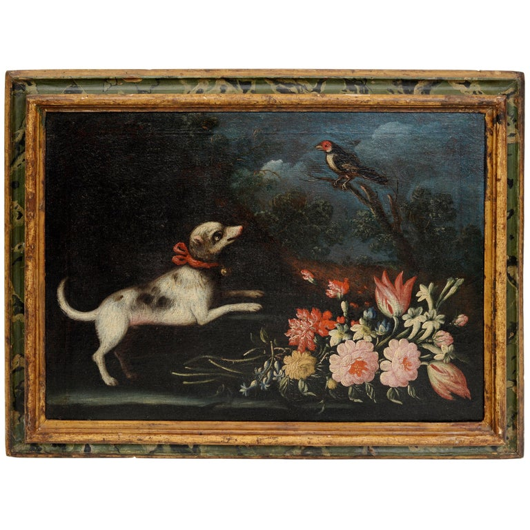Early 18th Century Floral Still Life, Piedmontese School with a Dog and Bird For Sale