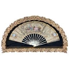 Early 18th Century French Fan in Gilt Display Case