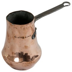 Early 18th Century French Louis XIV Period Copper Chocolate Pot with Iron Handle