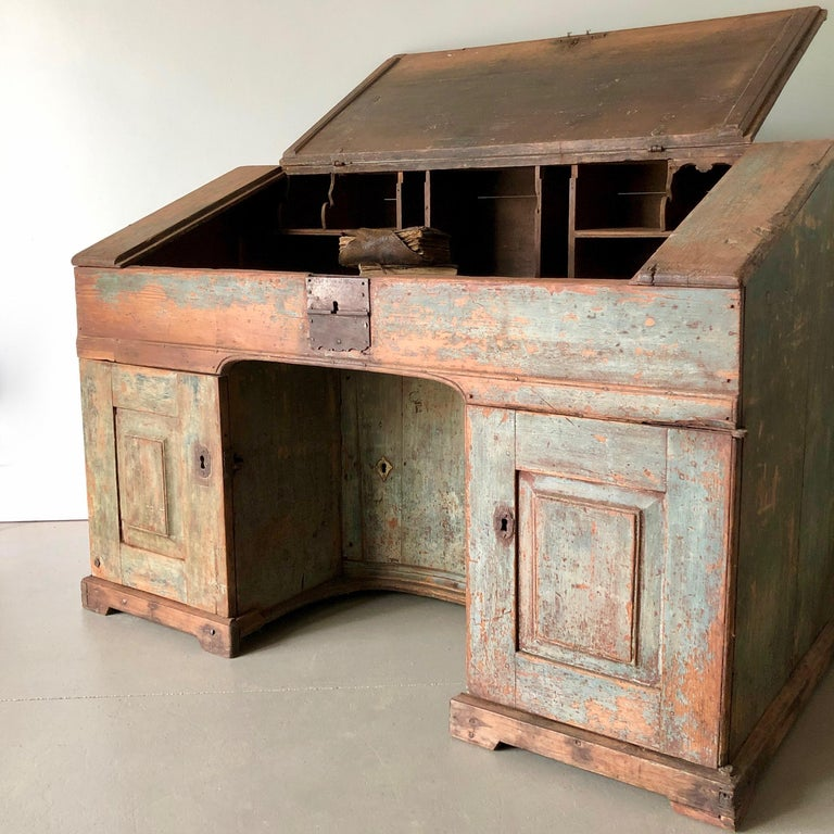 Early 18th century monastery writing desk in original patina and hardwares, locks are without keys. Inside many small compartments with open top.