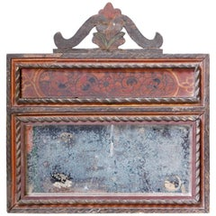 Early 18th Century French Painted Mirror with the Original Glass