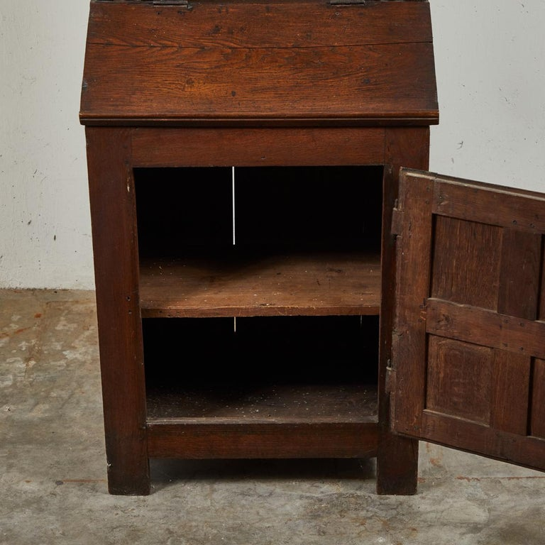 Wood Early 18th Century French Petite Secretaire or Bureau with Projecting Cabinet For Sale