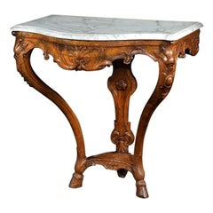Early 18th Century French Regence Walnut Marble Console Table