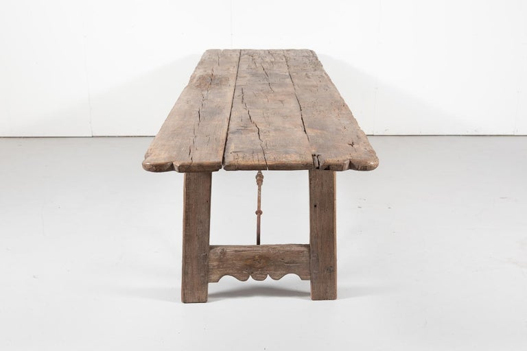 Early 18th Century French Trestle Table with Iron Stretcher For Sale 7