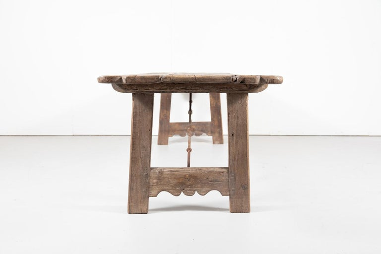 Early 18th Century French Trestle Table with Iron Stretcher For Sale 8