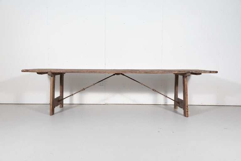Early 18th Century French Trestle Table with Iron Stretcher In Good Condition For Sale In Birmingham, AL
