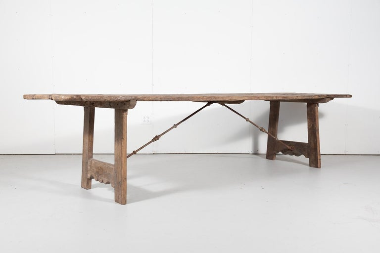 Wood Early 18th Century French Trestle Table with Iron Stretcher For Sale