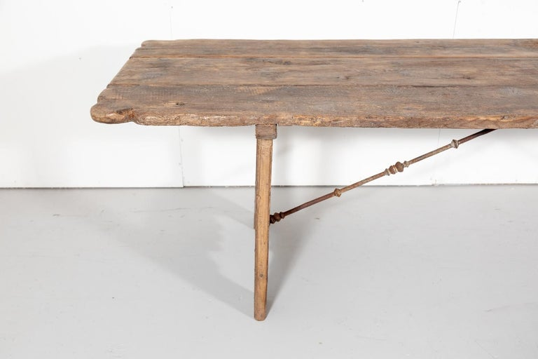 Early 18th Century French Trestle Table with Iron Stretcher For Sale 1