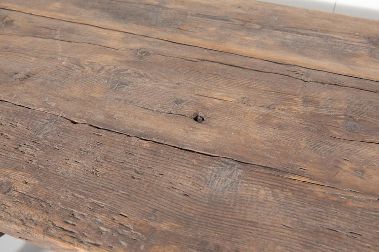 Early 18th Century French Trestle Table with Iron Stretcher For Sale 2