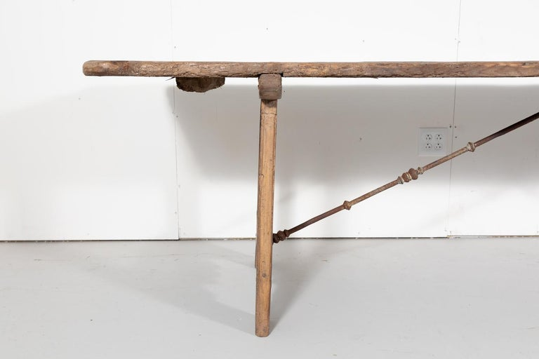 Early 18th Century French Trestle Table with Iron Stretcher For Sale 3