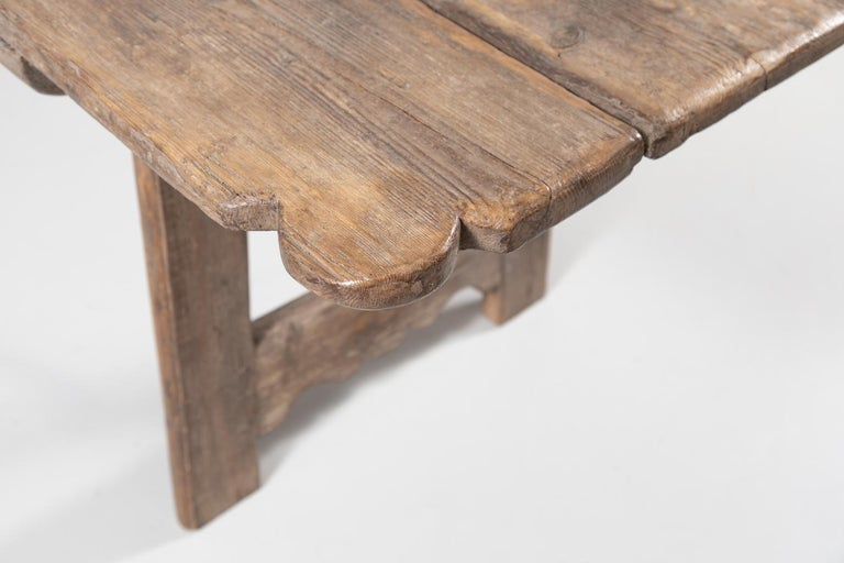 Early 18th Century French Trestle Table with Iron Stretcher For Sale 4
