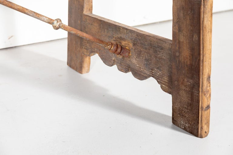Early 18th Century French Trestle Table with Iron Stretcher For Sale 5
