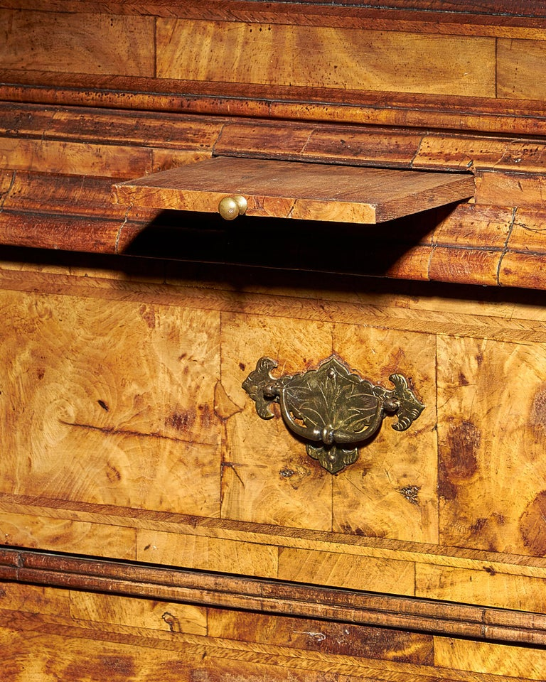 Brass Early 18th Century George I Highly Figured Walnut Double Dome Bookcase on Chest For Sale