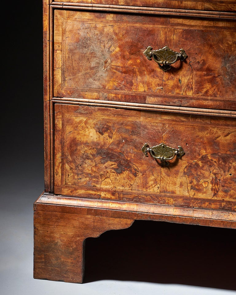 Early 18th Century George I Highly Figured Walnut Double Dome Bookcase on Chest For Sale 2