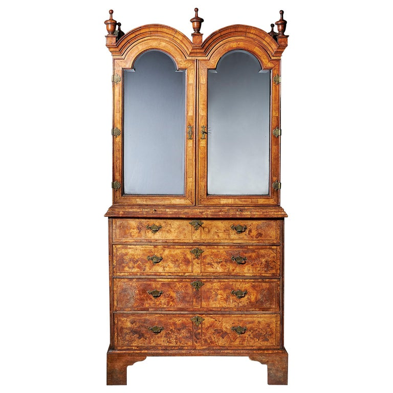Early 18th Century George I Highly Figured Walnut Double Dome Bookcase on Chest For Sale