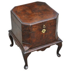 Early 18th Century George II Burl Walnut Wine Cellarette