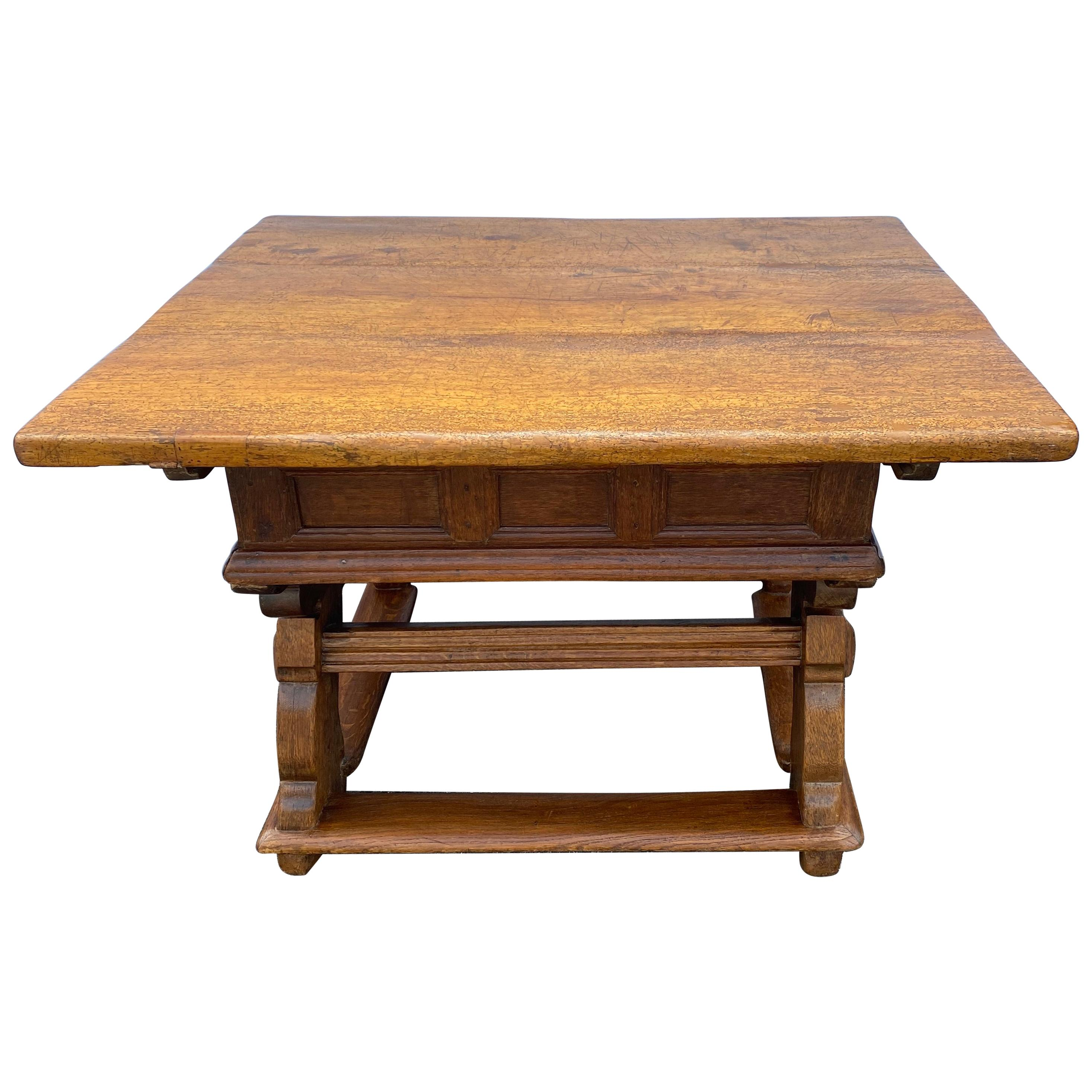 Early German 18th Century Refectory Table With Sliding Table-top