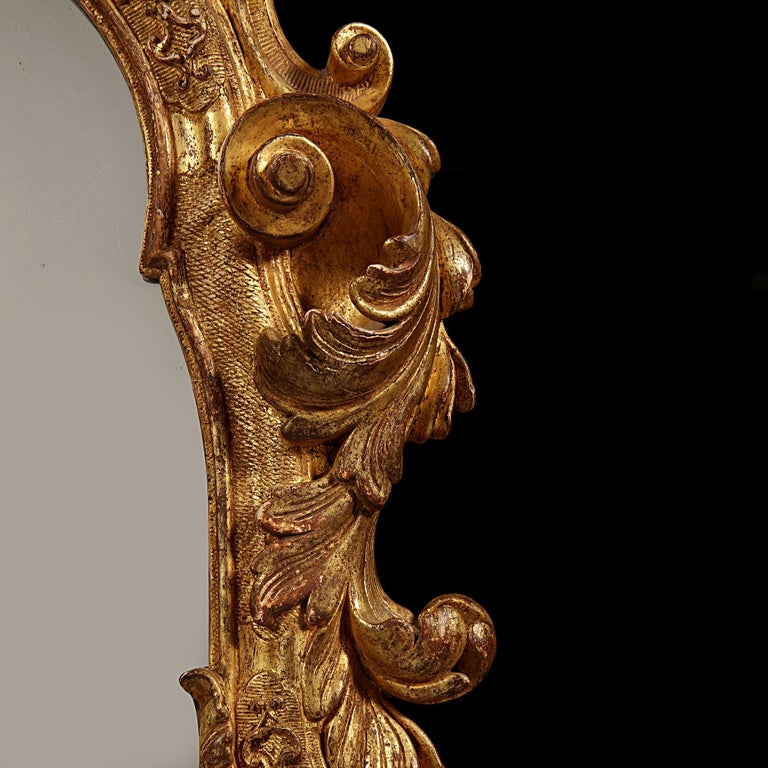 Hand-Carved Early 18th Century German Giltwood Pier Mirror, Louis XIV Baroque Period For Sale