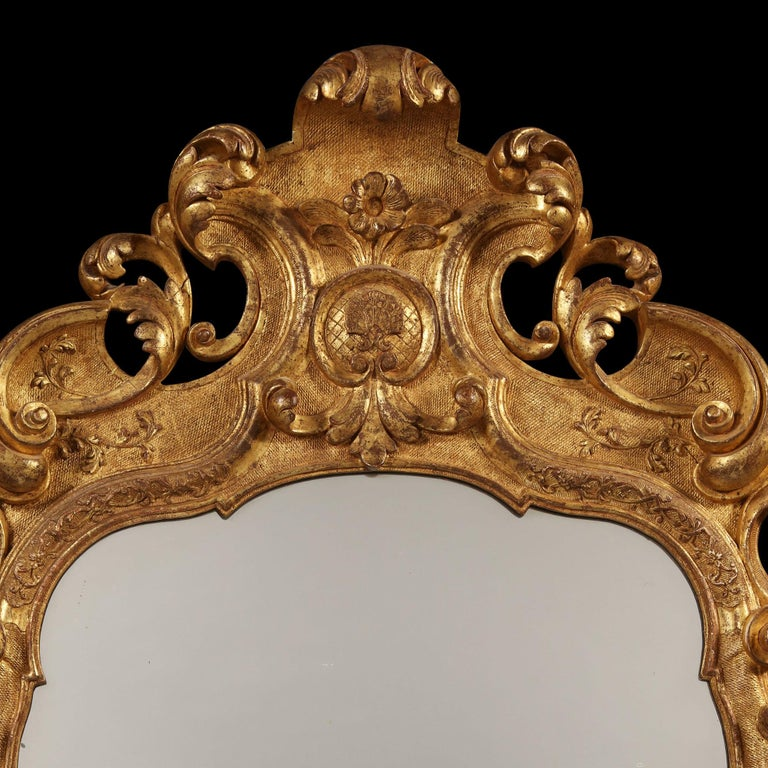 Early 18th Century German Giltwood Pier Mirror, Louis XIV Baroque Period For Sale 3