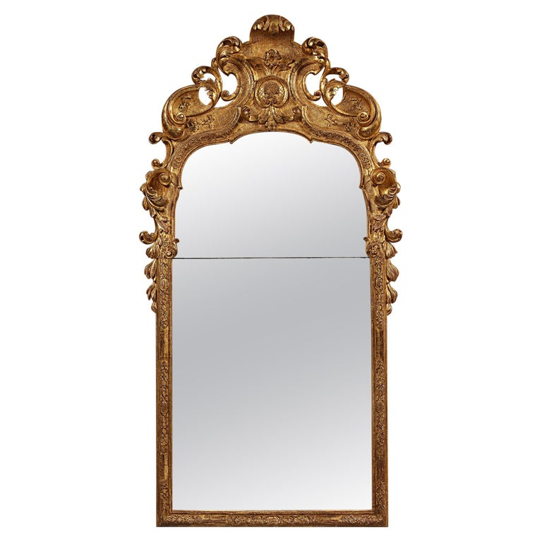 Early 18th Century German Giltwood Pier Mirror, Louis XIV Baroque Period For Sale