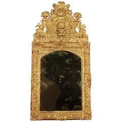 French Early 18th Century Régence Vase and Birds Cresting Giltwood Mirror