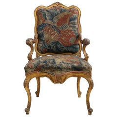 Early 18th Century Italian Carved Gilded Chair with Original Tapestry Covering