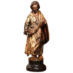 Early 18th Century Italian Carved Polychrome Saint Peter Statue on Marble Base